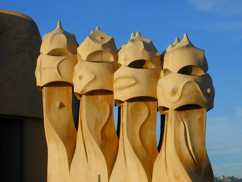 Description: Barcelona, Spain: Casa Mila (La Pedrera): chimney pots