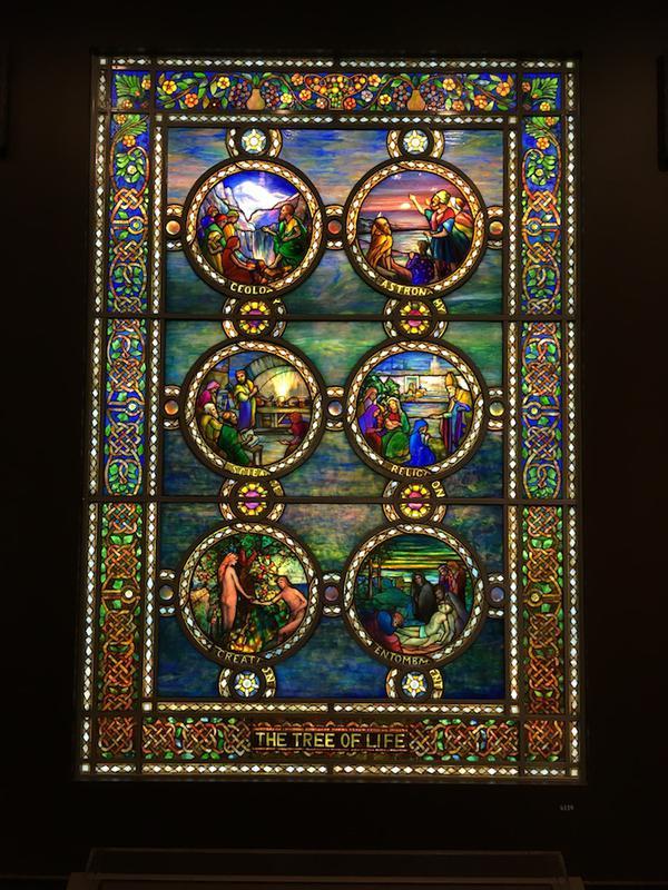 Art Nouveau 29 W X 48 H Tiffany Tree Of Life Stained Gl Window